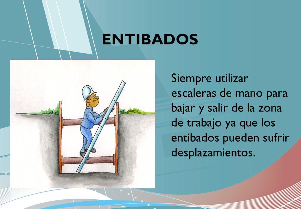 ENTIBADOS Siempre utilizar escaleras de mano para bajar y salir de la zona de trabajo ya que los entibados pueden sufrir desplazamientos.