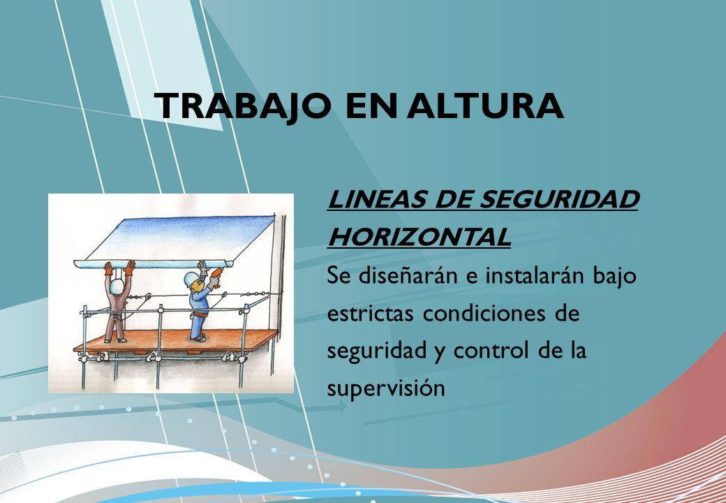 LINEAS DE SEGURIDAD HORIZONTAL Se diseñarán e instalarán bajo estrictas condiciones de seguridad y control de la supervisión TRABAJO EN ALTURA