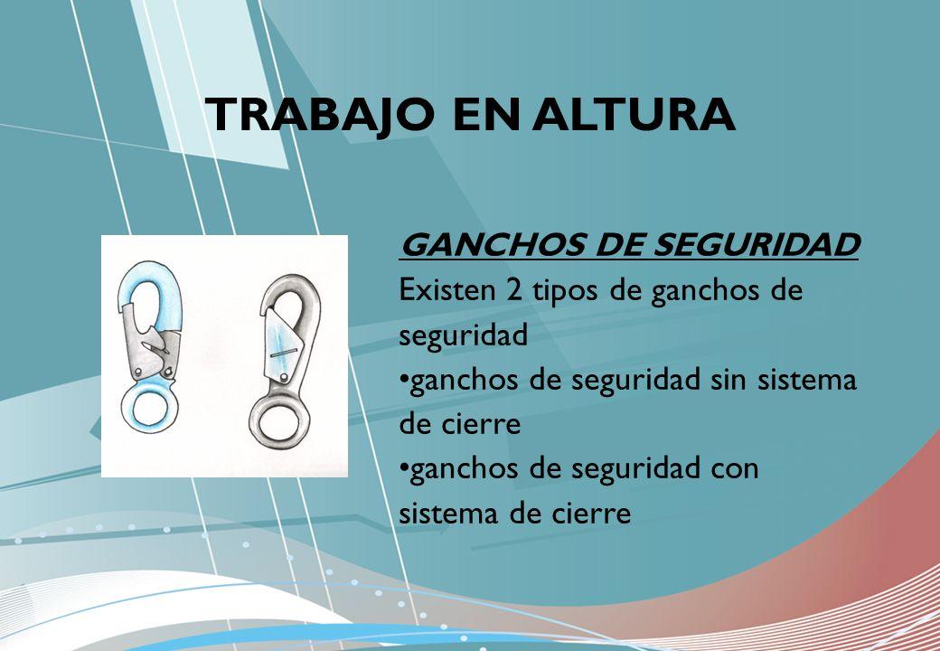 GANCHOS DE SEGURIDAD Existen 2 tipos de ganchos de seguridad ganchos de seguridad sin sistema de cierre ganchos de seguridad con sistema de cierre TRA