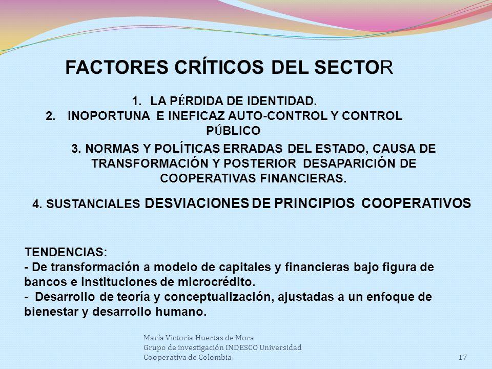 FACTORES CRÍTICOS DEL SECTOR 1.LA P É RDIDA DE IDENTIDAD.