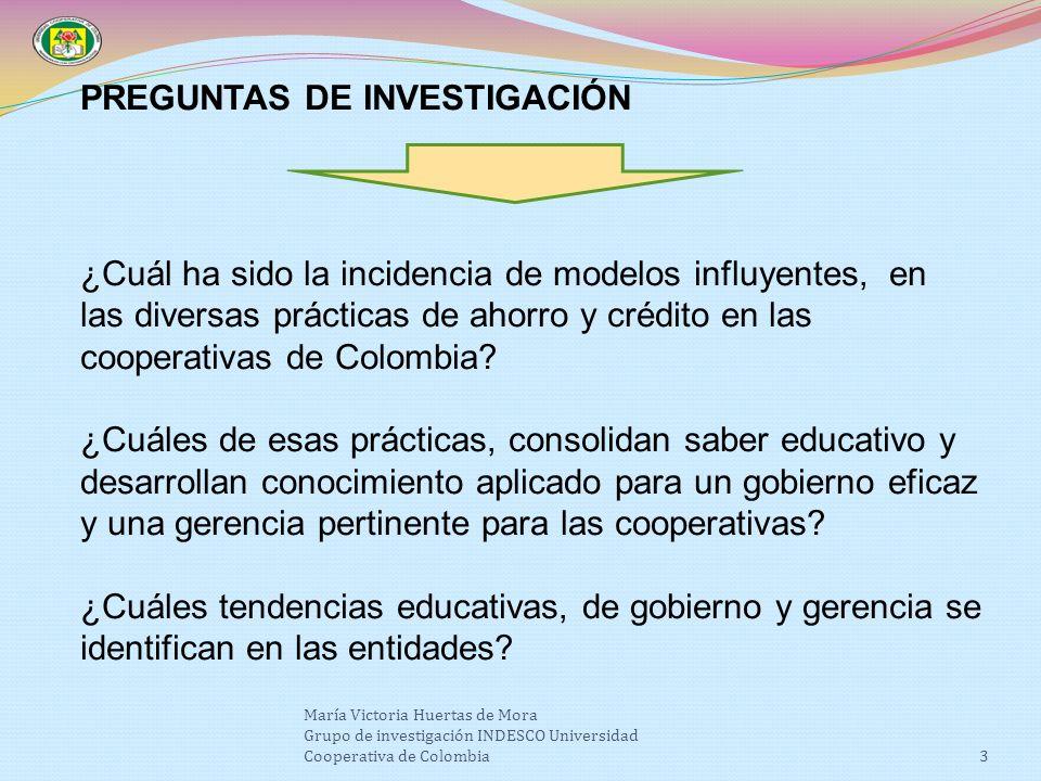 3 PREGUNTAS DE INVESTIGACIÓN ¿Cuál ha sido la incidencia de modelos influyentes, en las diversas prácticas de ahorro y crédito en las cooperativas de Colombia.