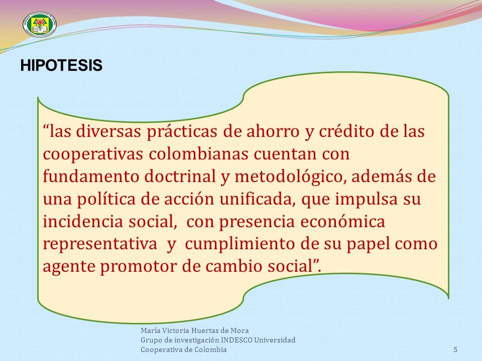 5 HIPOTESIS las diversas prácticas de ahorro y crédito de las cooperativas colombianas cuentan con fundamento doctrinal y metodológico, además de una política de acción unificada, que impulsa su incidencia social, con presencia económica representativa y cumplimiento de su papel como agente promotor de cambio social.