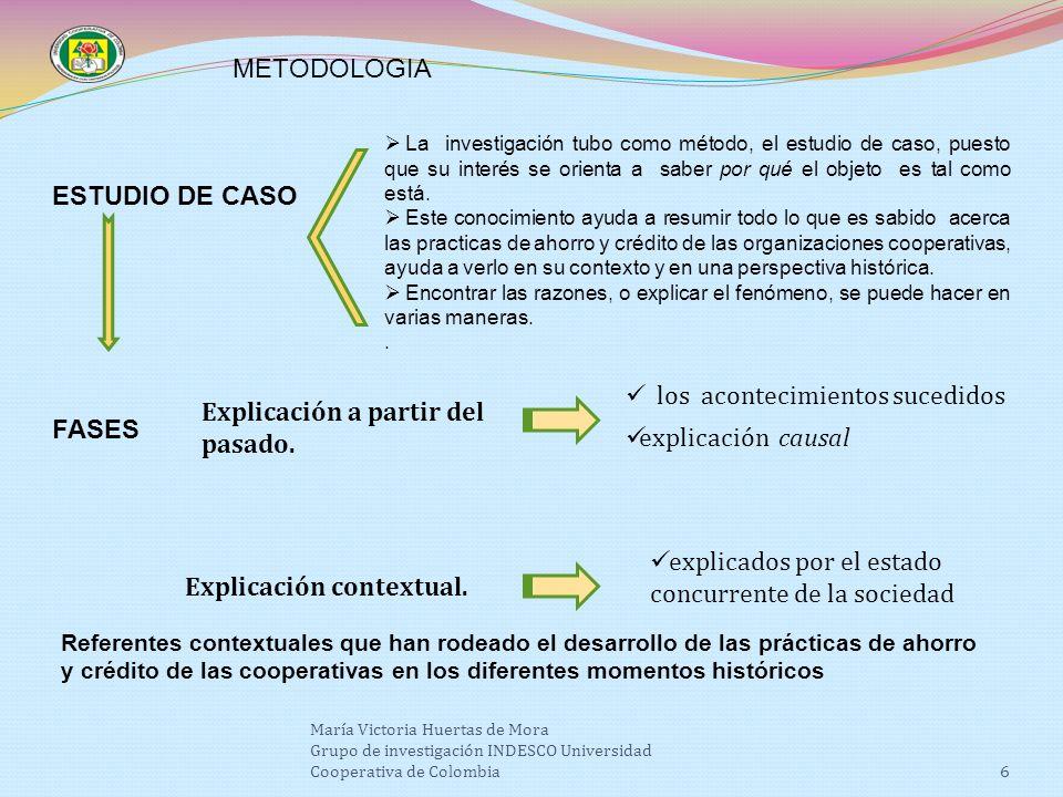 6 La investigación tubo como método, el estudio de caso, puesto que su interés se orienta a saber por qué el objeto es tal como está.