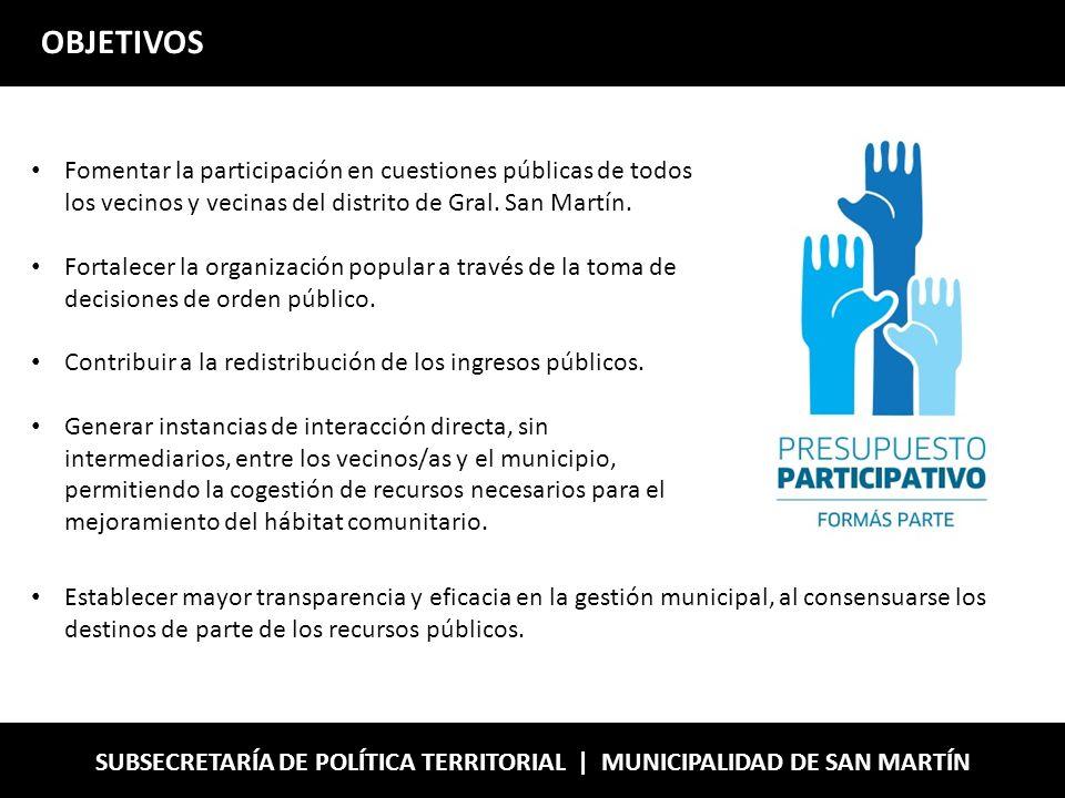 OBJETIVOS Fomentar la participación en cuestiones públicas de todos los vecinos y vecinas del distrito de Gral.