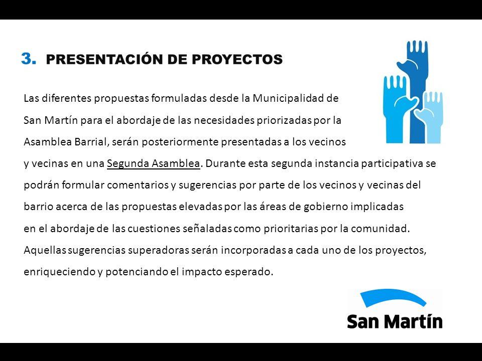 Las diferentes propuestas formuladas desde la Municipalidad de San Martín para el abordaje de las necesidades priorizadas por la Asamblea Barrial, serán posteriormente presentadas a los vecinos y vecinas en una Segunda Asamblea.