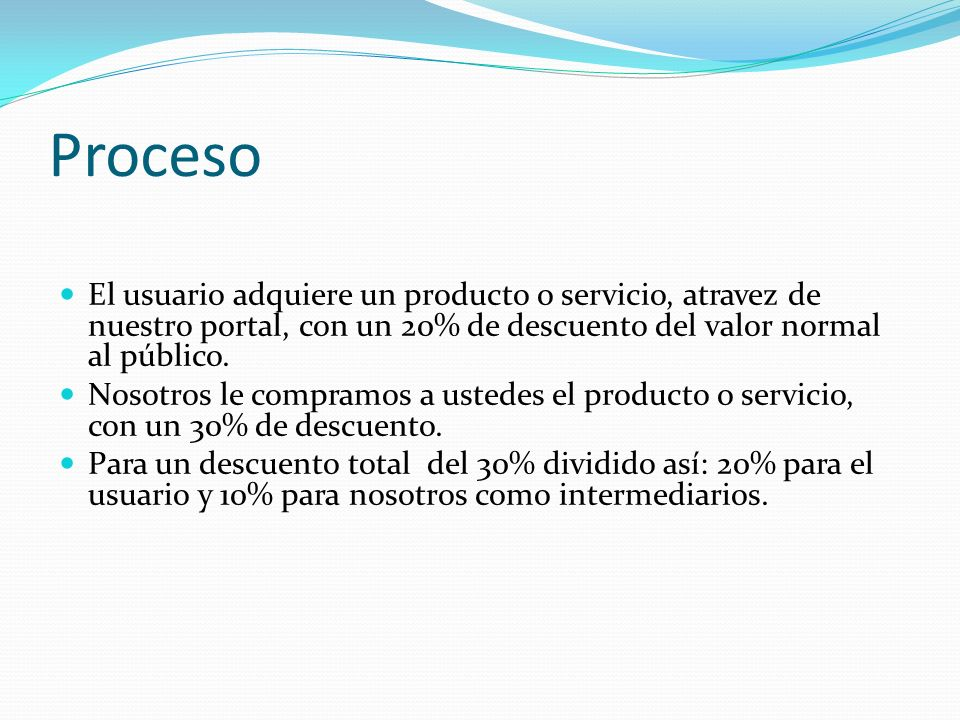 Proceso El usuario adquiere un producto o servicio, atravez de nuestro portal, con un 20% de descuento del valor normal al público.