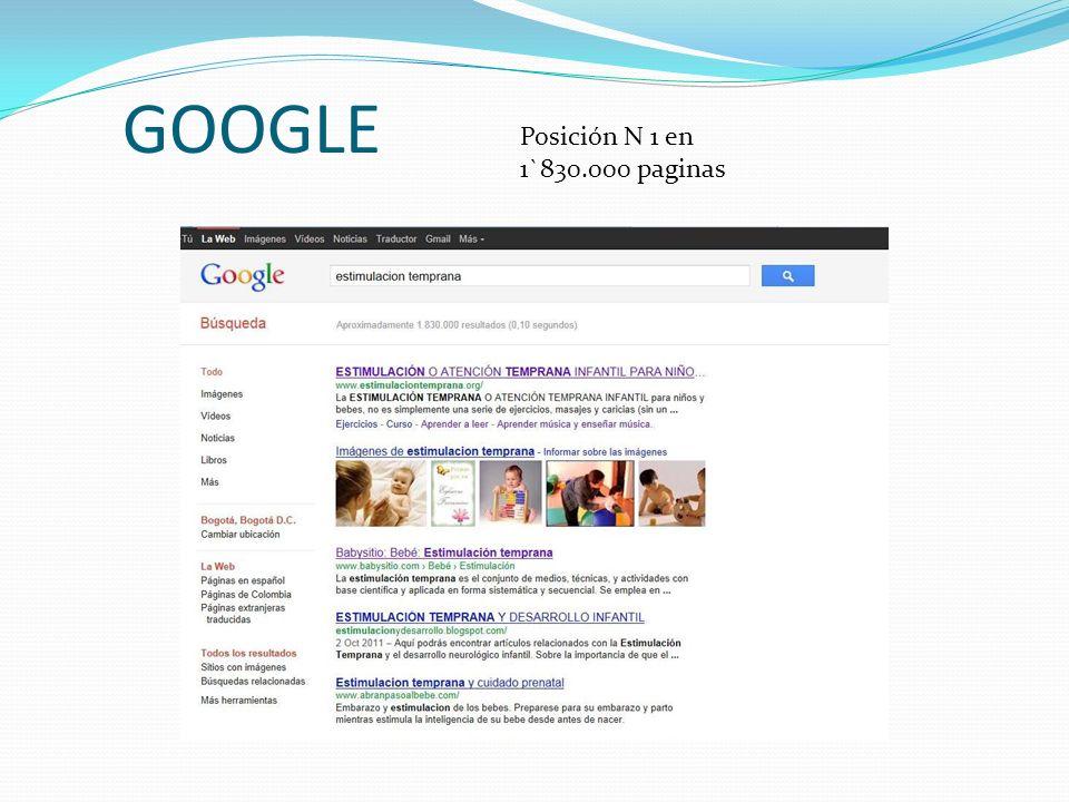 GOOGLE Posición N 1 en 1`830.000 paginas