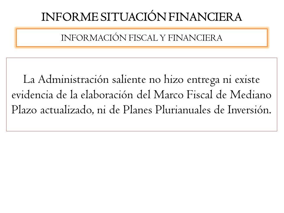 INFORME SITUACIÓN FINANCIERA INFORMACIÓN FISCAL Y FINANCIERA La Administración saliente no hizo entrega ni existe evidencia de la elaboración del Marc