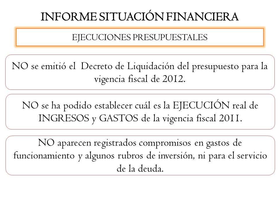 INFORME SITUACIÓN FINANCIERA EJECUCIONES PRESUPUESTALES NO se emitió el Decreto de Liquidación del presupuesto para la vigencia fiscal de 2012. NO se
