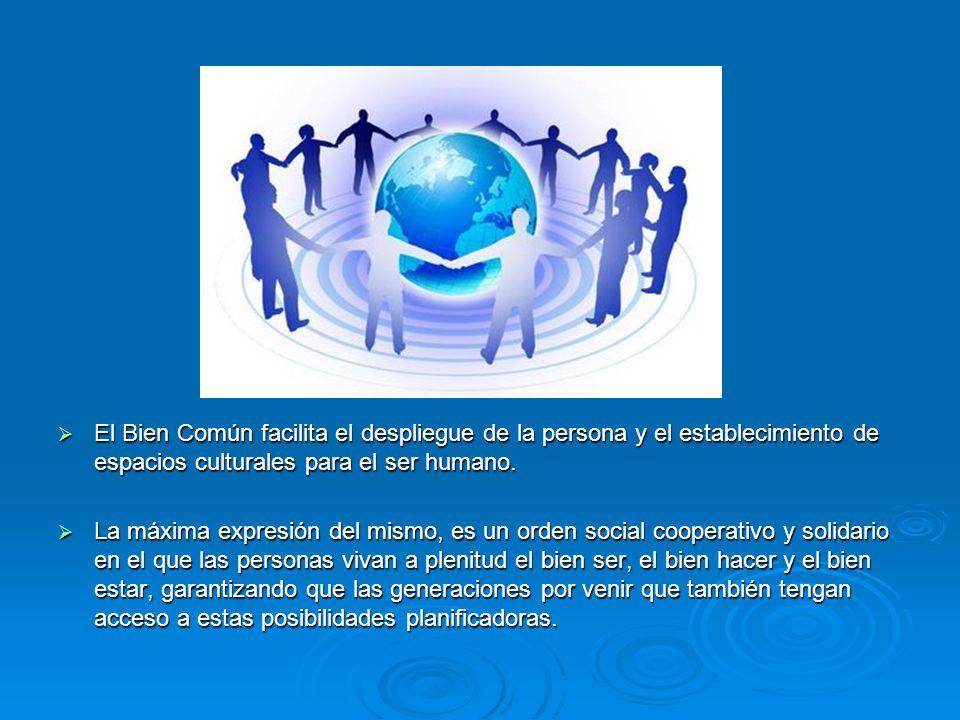 El Bien Común facilita el despliegue de la persona y el establecimiento de espacios culturales para el ser humano. El Bien Común facilita el despliegu