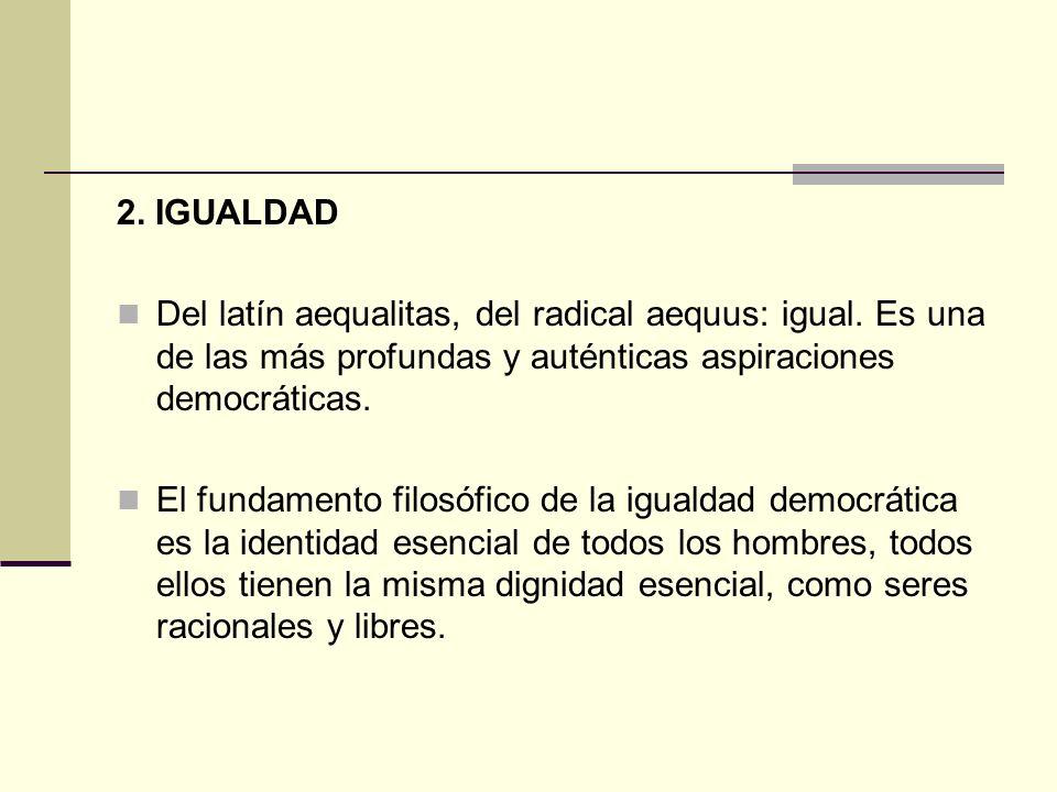 2. IGUALDAD Del latín aequalitas, del radical aequus: igual. Es una de las más profundas y auténticas aspiraciones democráticas. El fundamento filosóf