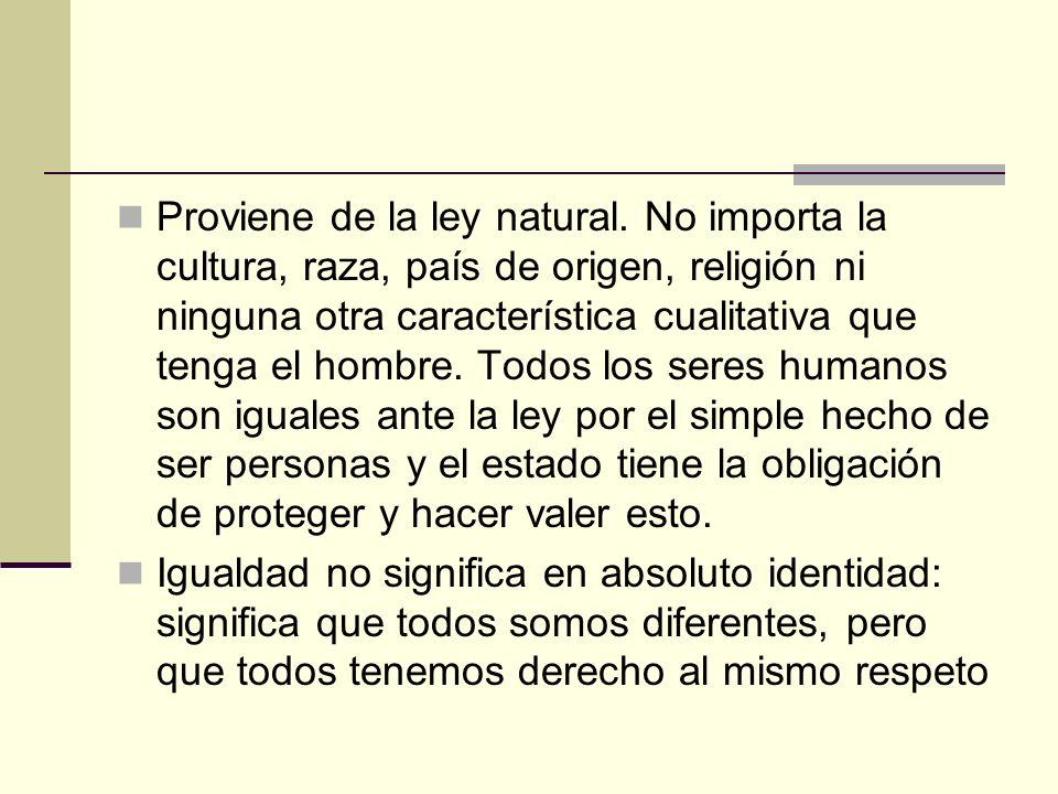 Proviene de la ley natural. No importa la cultura, raza, país de origen, religión ni ninguna otra característica cualitativa que tenga el hombre. Todo