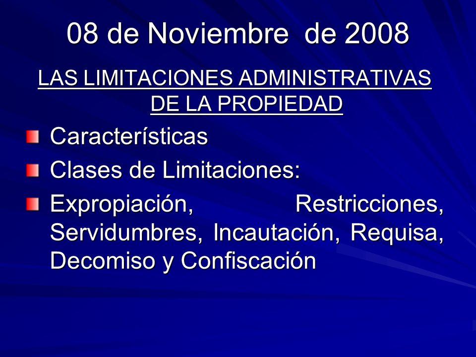 LAS LIMITACIONES ADMINISTRATIVAS DE LA PROPIEDAD EL DECOMISO Llamada también incautación, es la figura jurídica mediante la cual se sanciona al infractor con la extinción de su derecho de propiedad sobre bienes muebles, acciones y derechos.