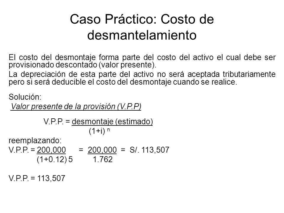 Caso Práctico: Costo de desmantelamiento El costo del desmontaje forma parte del costo del activo el cual debe ser provisionado descontado (valor pres