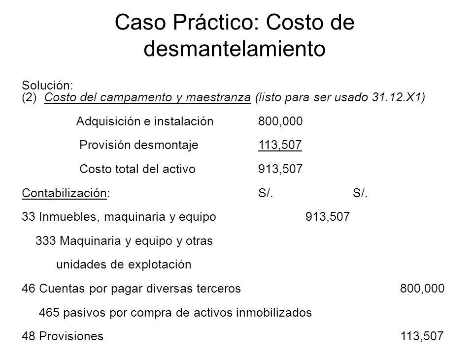 Caso Práctico: Costo de desmantelamiento Solución: (2) Costo del campamento y maestranza (listo para ser usado 31.12.X1) Adquisición e instalación800,