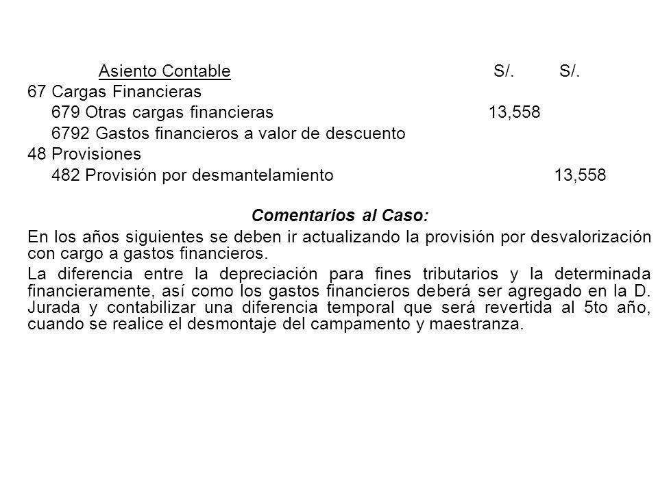 Asiento ContableS/.S/. 67 Cargas Financieras 679 Otras cargas financieras 13,558 6792 Gastos financieros a valor de descuento 48 Provisiones 482 Provi