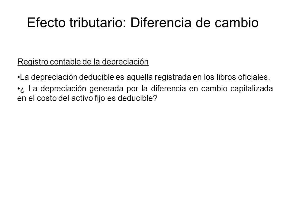 Registro contable de la depreciación La depreciación deducible es aquella registrada en los libros oficiales. ¿ La depreciación generada por la difere