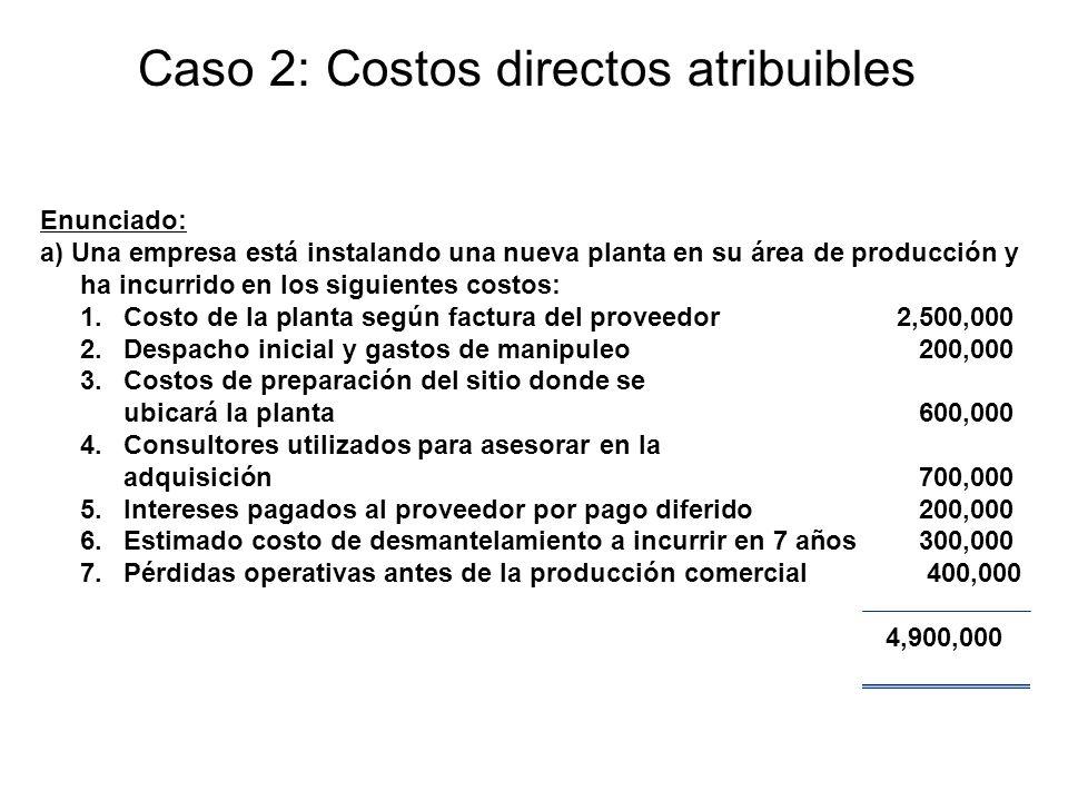 Enunciado: a) Una empresa está instalando una nueva planta en su área de producción y ha incurrido en los siguientes costos: 1.Costo de la planta segú