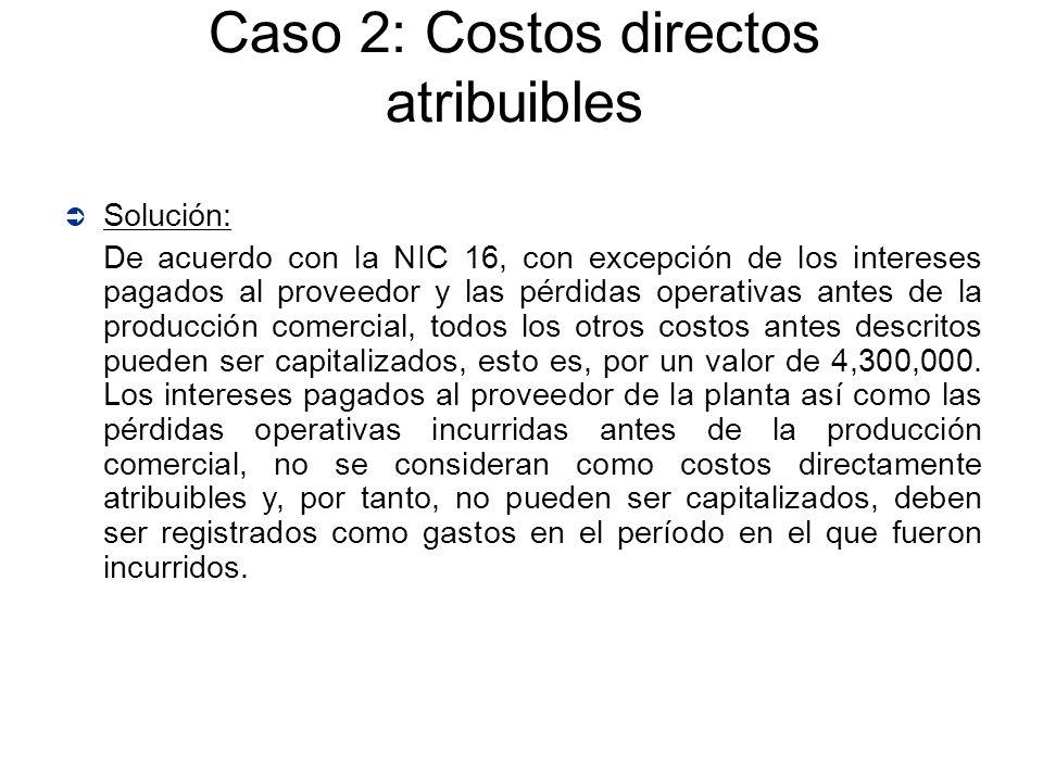 Solución: De acuerdo con la NIC 16, con excepción de los intereses pagados al proveedor y las pérdidas operativas antes de la producción comercial, to
