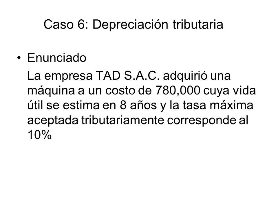 Caso 6: Depreciación tributaria Enunciado La empresa TAD S.A.C. adquirió una máquina a un costo de 780,000 cuya vida útil se estima en 8 años y la tas