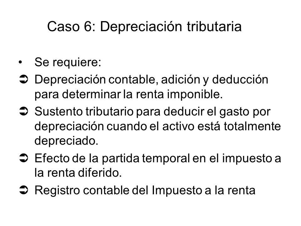 Se requiere: Depreciación contable, adición y deducción para determinar la renta imponible. Sustento tributario para deducir el gasto por depreciación