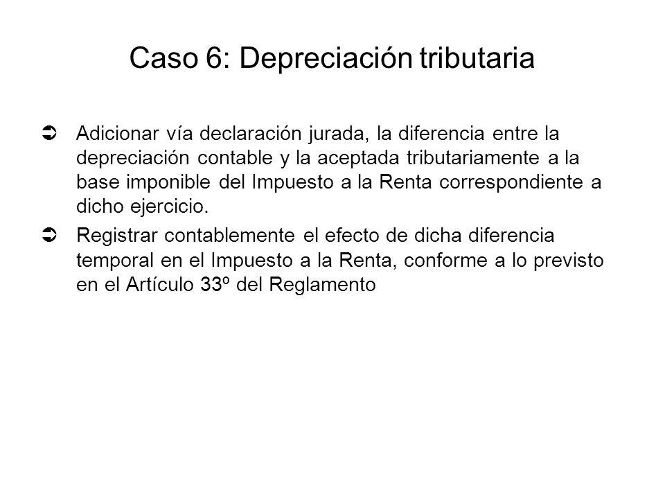 Adicionar vía declaración jurada, la diferencia entre la depreciación contable y la aceptada tributariamente a la base imponible del Impuesto a la Ren