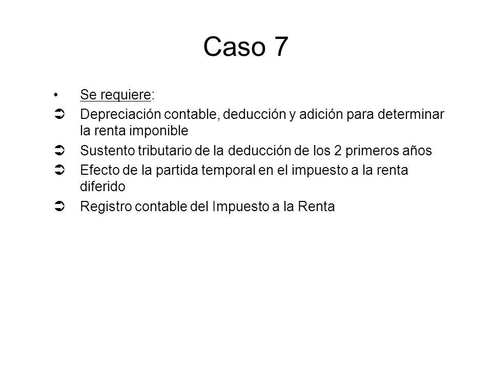 Caso 7 Se requiere: Depreciación contable, deducción y adición para determinar la renta imponible Sustento tributario de la deducción de los 2 primero