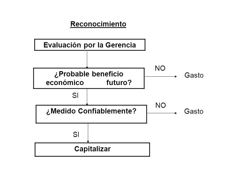 Reconocimiento Evaluación por la Gerencia ¿Probable beneficio económico futuro? ¿Medido Confiablemente? Capitalizar Gasto SI NO SI NO