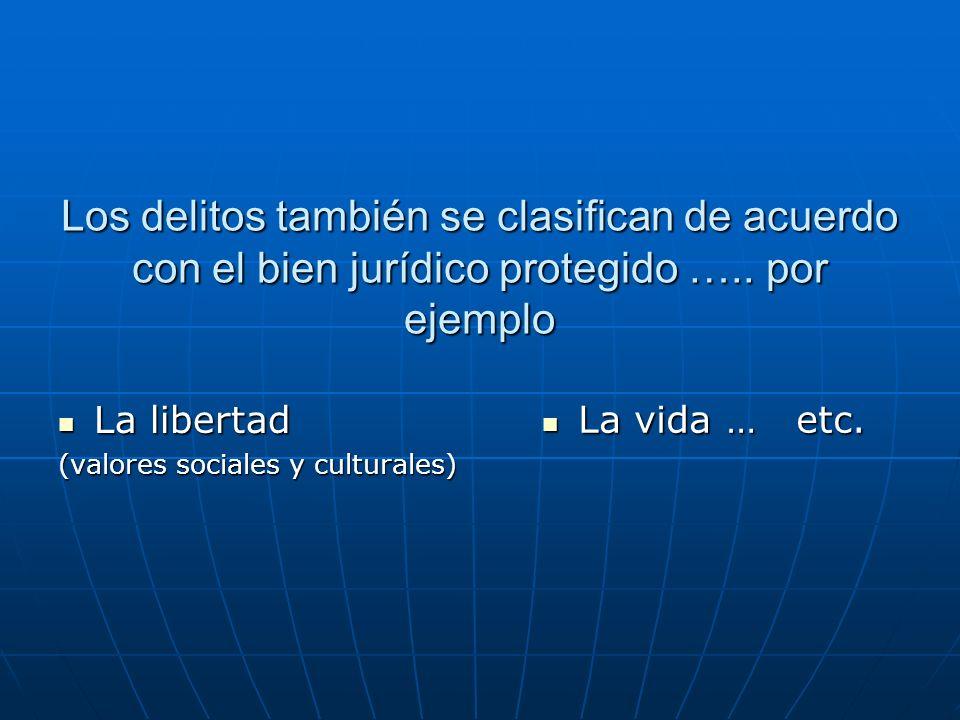 Los delitos también se clasifican de acuerdo con el bien jurídico protegido …..