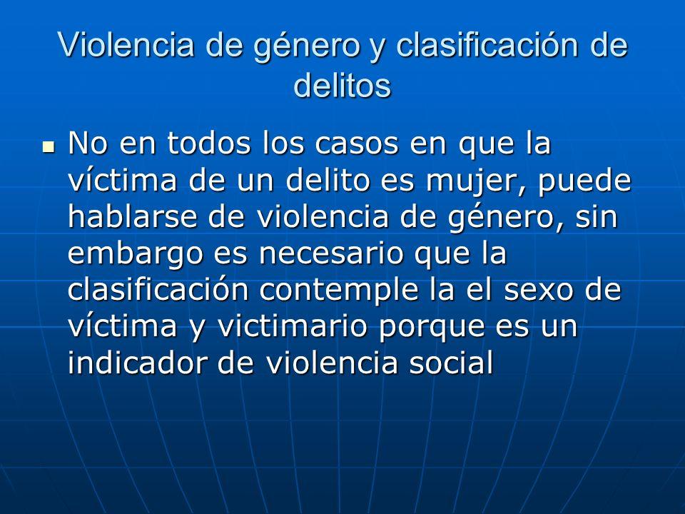 Violencia de género y clasificación de delitos No en todos los casos en que la víctima de un delito es mujer, puede hablarse de violencia de género, sin embargo es necesario que la clasificación contemple la el sexo de víctima y victimario porque es un indicador de violencia social No en todos los casos en que la víctima de un delito es mujer, puede hablarse de violencia de género, sin embargo es necesario que la clasificación contemple la el sexo de víctima y victimario porque es un indicador de violencia social