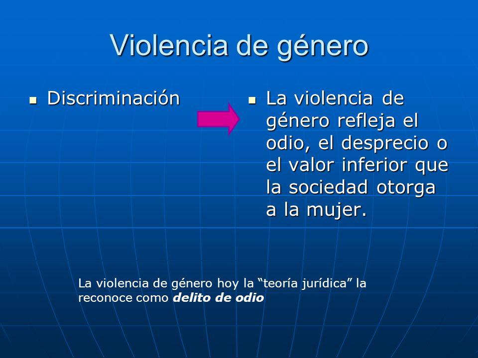 Violencia de género Discriminación Discriminación La violencia de género refleja el odio, el desprecio o el valor inferior que la sociedad otorga a la mujer.