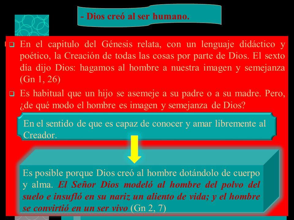En el capitulo del Génesis relata, con un lenguaje didáctico y poético, la Creación de todas las cosas por parte de Dios. El sexto día dijo Dios: haga