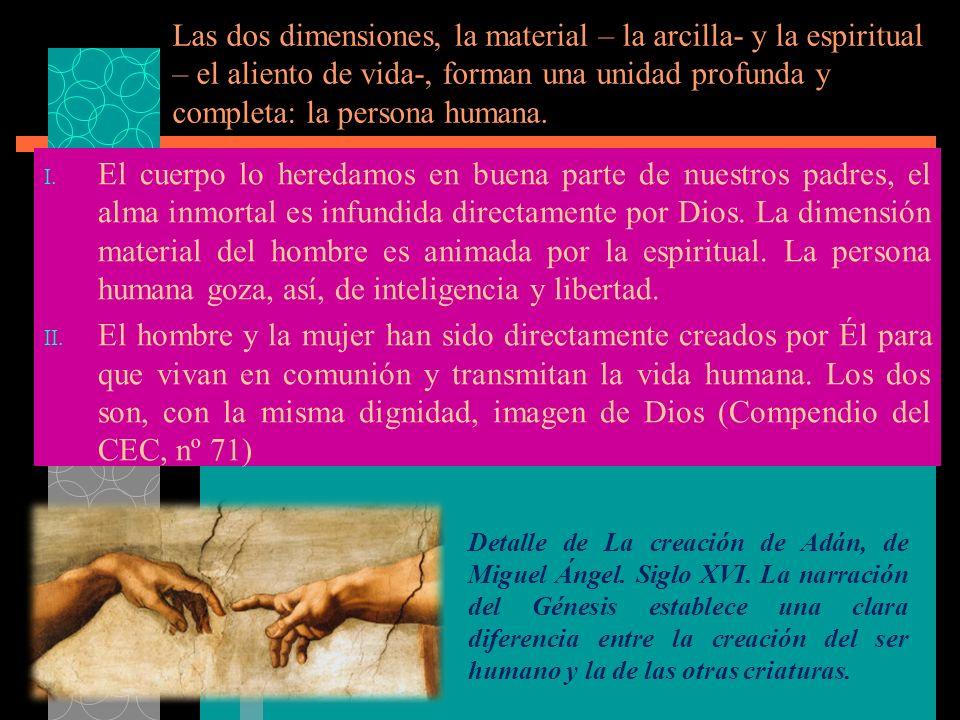 Las dos dimensiones, la material – la arcilla- y la espiritual – el aliento de vida-, forman una unidad profunda y completa: la persona humana. I. El