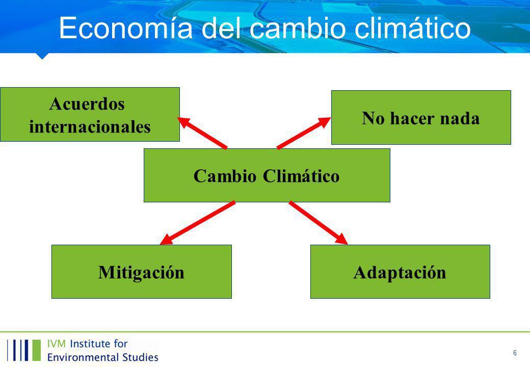 6 Economía del cambio climático Cambio Climático MitigaciónAdaptación No hacer nada Acuerdos internacionales