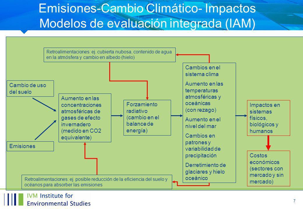 7 Emisiones-Cambio Climático- Impactos Modelos de evaluación integrada (IAM) Cambio de uso del suelo Emisiones Aumento en las concentraciones atmosféricas de gases de efecto invernadero (medido en CO2 equivalente) Forzamiento radiativo (cambio en el balance de energía) Cambios en el sistema clima Aumento en las temperaturas atmosféricas y oceánicas (con rezago) Aumento en el nivel del mar Cambios en patrones y variabilidad de precipitación Derretimiento de glaciares y hielo oceánico Impactos en sistemas físicos, biológicos y humanos Retroalimentaciones: ej.