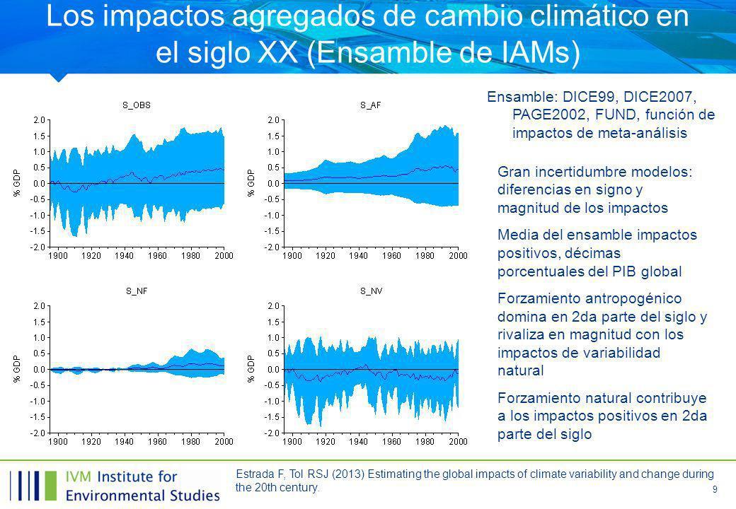 9 Los impactos agregados de cambio climático en el siglo XX (Ensamble de IAMs) Ensamble: DICE99, DICE2007, PAGE2002, FUND, función de impactos de meta-análisis Gran incertidumbre modelos: diferencias en signo y magnitud de los impactos Media del ensamble impactos positivos, décimas porcentuales del PIB global Forzamiento antropogénico domina en 2da parte del siglo y rivaliza en magnitud con los impactos de variabilidad natural Forzamiento natural contribuye a los impactos positivos en 2da parte del siglo Estrada F, Tol RSJ (2013) Estimating the global impacts of climate variability and change during the 20th century.