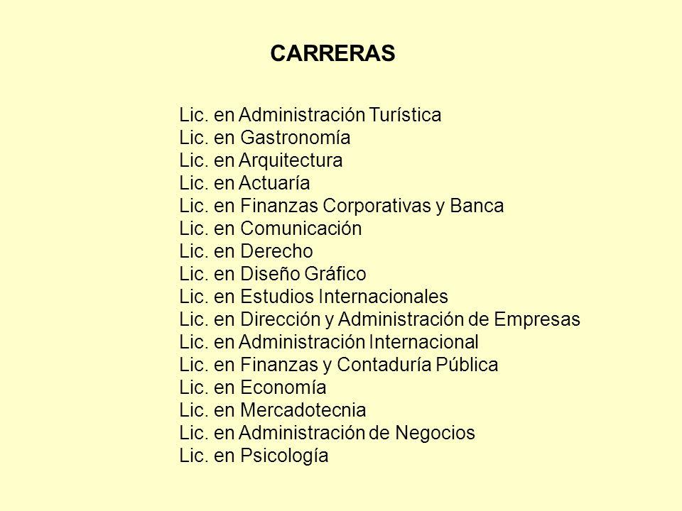 Lic. en Administración Turística Lic. en Gastronomía Lic.