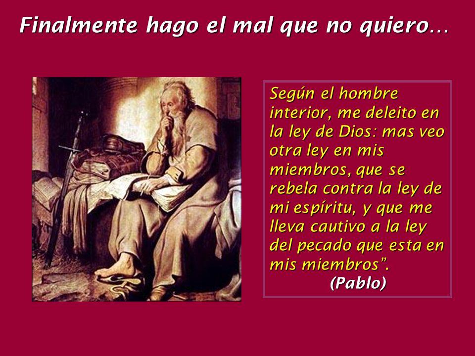 Según el hombre interior, me deleito en la ley de Dios: mas veo otra ley en mis miembros, que se rebela contra la ley de mi espíritu, y que me lleva cautivo a la ley del pecado que esta en mis miembros.