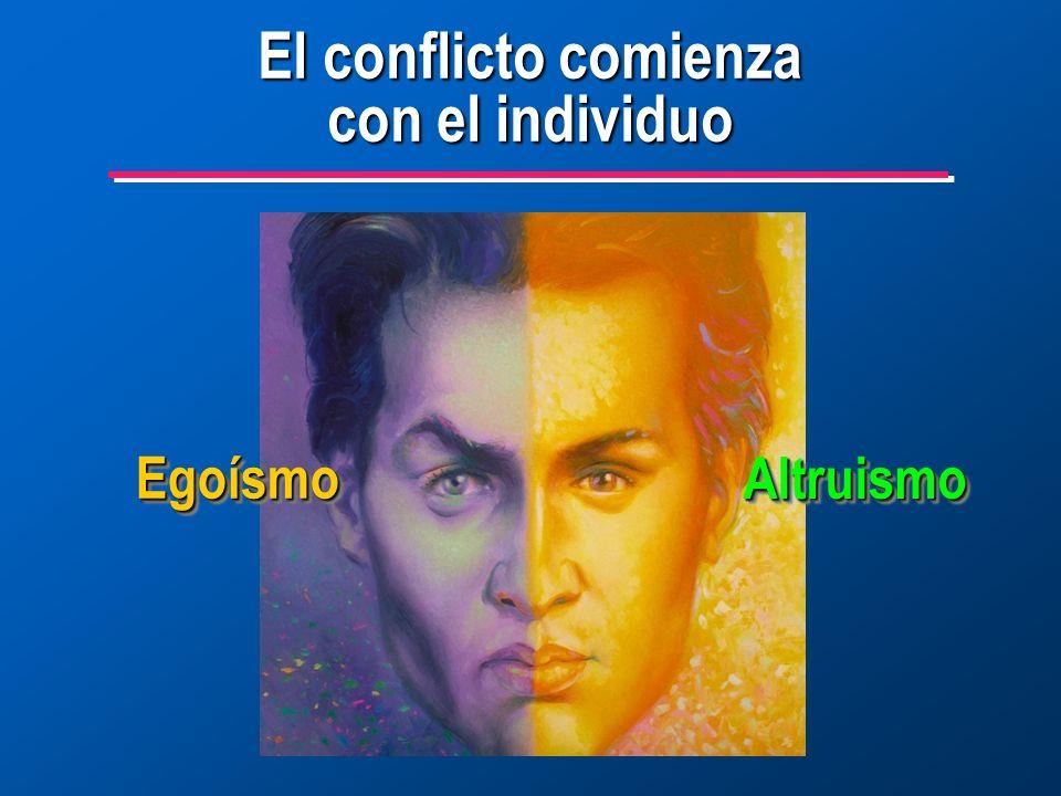 El conflicto comienza con el individuo AltruismoAltruismo EgoísmoEgoísmo