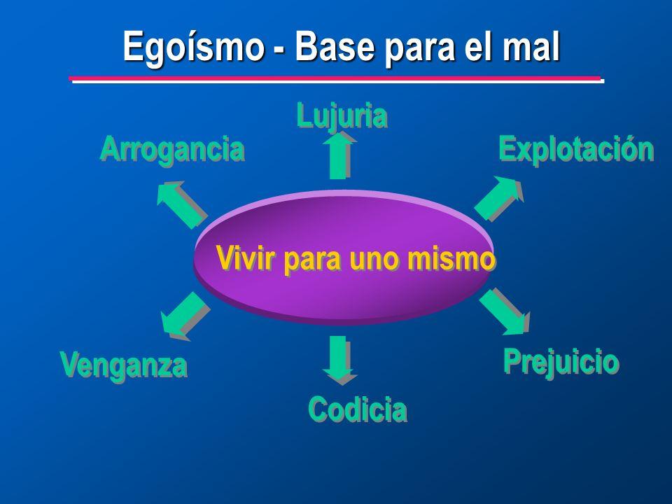 Egoísmo - Base para el mal Vivir para uno mismo Lujuria Explotación Prejuicio Codicia Venganza Arrogancia