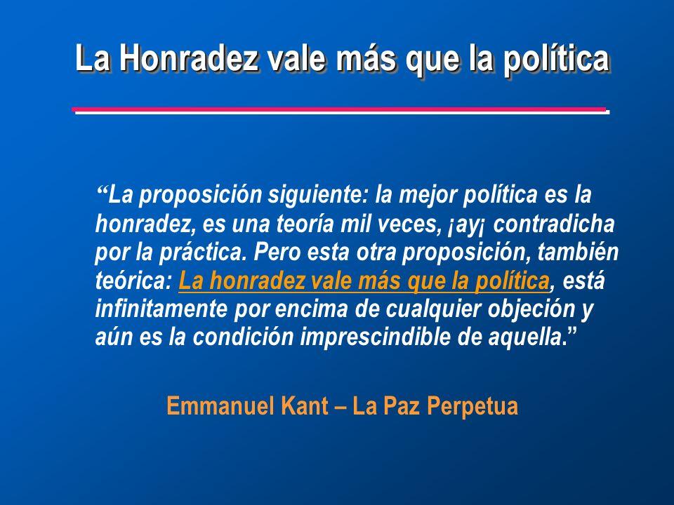 La proposición siguiente: la mejor política es la honradez, es una teoría mil veces, ¡ay¡ contradicha por la práctica.
