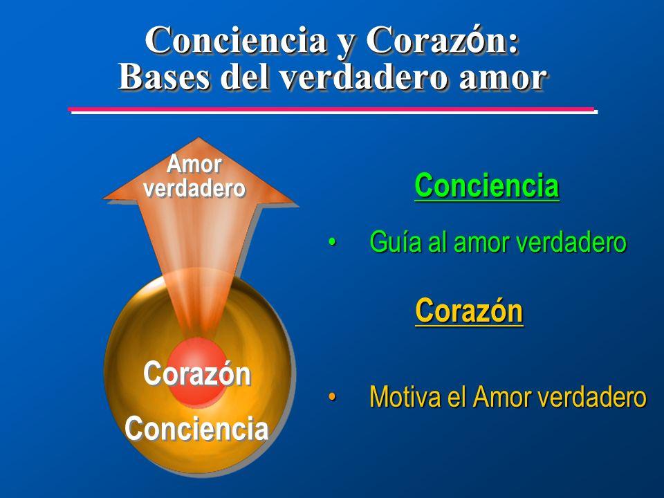 Conciencia Guía al amor verdaderoGuía al amor verdadero Corazón Corazón Motiva el Amor verdaderoMotiva el Amor verdadero Conciencia y Coraz ó n: Bases del verdadero amor Conciencia Amor verdadero Corazón