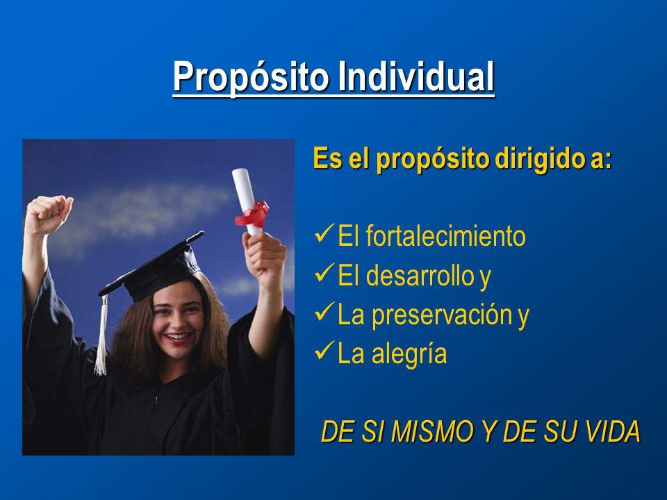 Propósito Individual Es el propósito dirigido a: El fortalecimiento El desarrollo y La preservación y La alegría DE SI MISMO Y DE SU VIDA