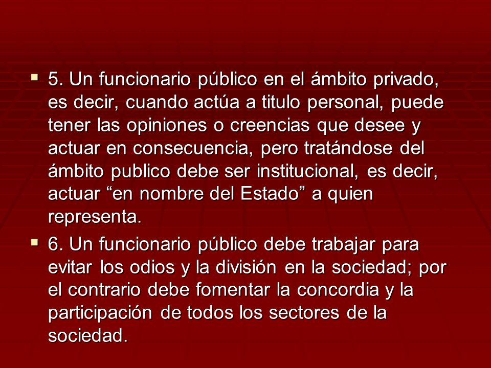5. Un funcionario público en el ámbito privado, es decir, cuando actúa a titulo personal, puede tener las opiniones o creencias que desee y actuar en
