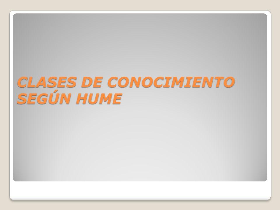 CLASES DE CONOCIMIENTO SEGÚN HUME