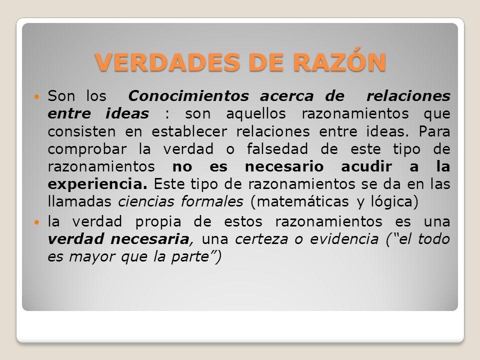 VERDADES DE RAZÓN VERDADES DE RAZÓN Son los Conocimientos acerca de relaciones entre ideas : son aquellos razonamientos que consisten en establecer re