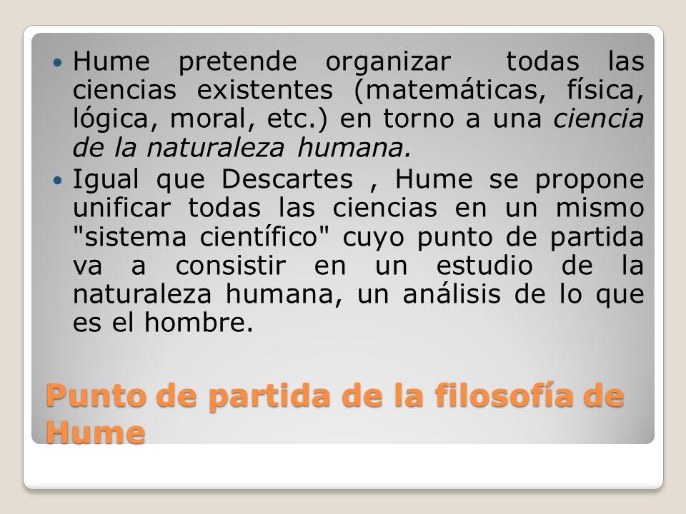 Punto de partida de la filosofía de Hume Hume pretende organizar todas las ciencias existentes (matemáticas, física, lógica, moral, etc.) en torno a u