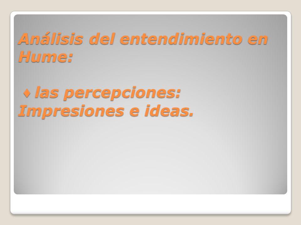 Análisis del entendimiento en Hume: las percepciones: Impresiones e ideas.