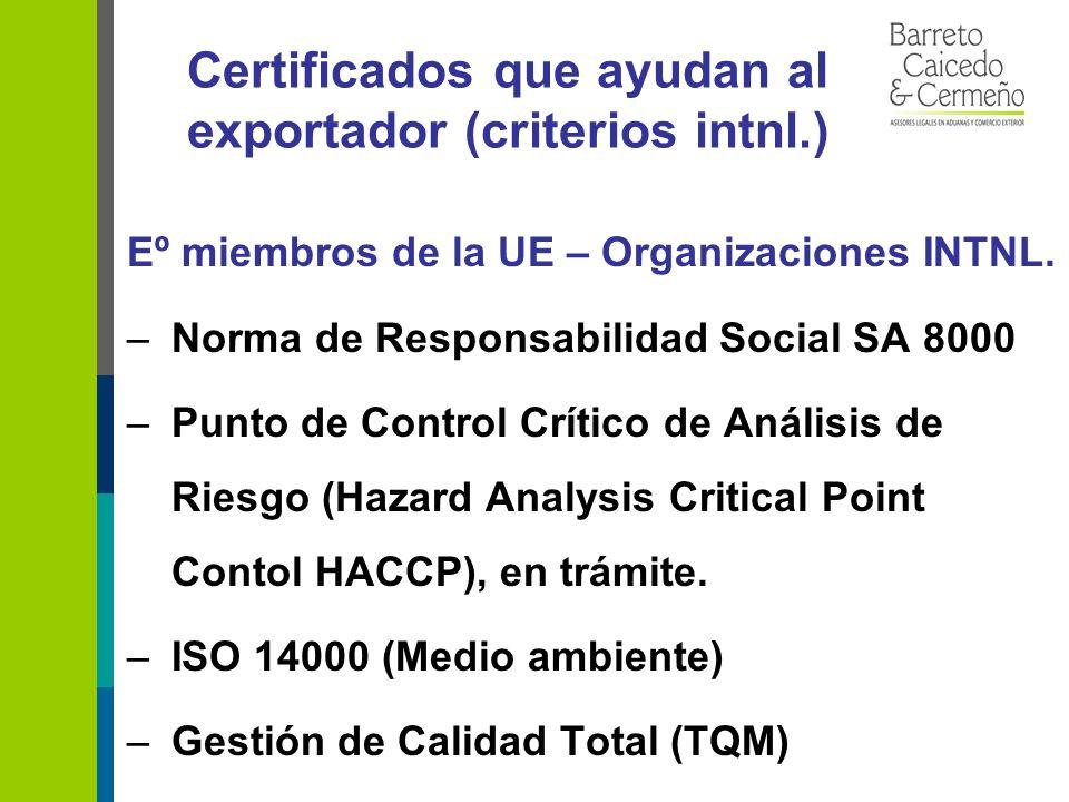 Certificados que ayudan al exportador (criterios intnl.) Eº miembros de la UE – Organizaciones INTNL.