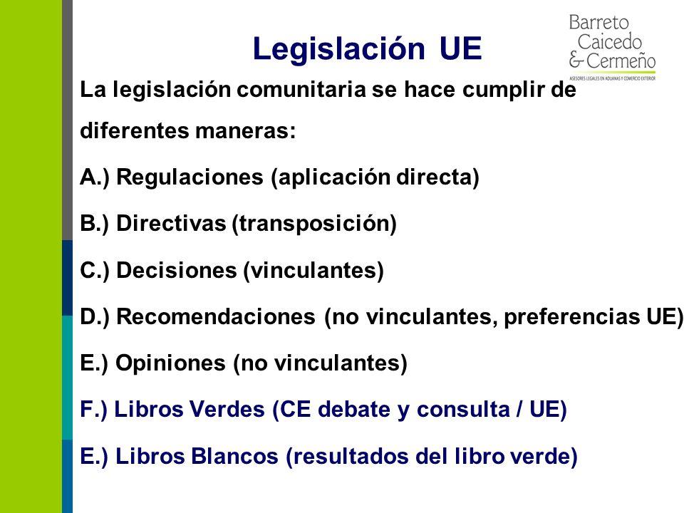 Legislación UE La legislación comunitaria se hace cumplir de diferentes maneras: A.) Regulaciones (aplicación directa) B.) Directivas (transposición) C.) Decisiones (vinculantes) D.) Recomendaciones (no vinculantes, preferencias UE) E.) Opiniones (no vinculantes) F.) Libros Verdes (CE debate y consulta / UE) E.) Libros Blancos (resultados del libro verde)